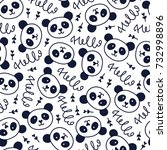 doodles cute seamless pattern.... | Shutterstock .eps vector #732998896