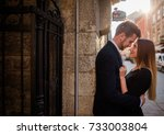 young couple looks in each... | Shutterstock . vector #733003804