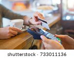 customer paying through credit... | Shutterstock . vector #733011136