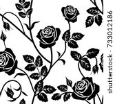 rose seamless pattern. black... | Shutterstock .eps vector #733012186