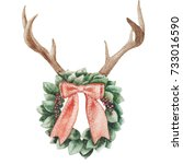 christmas wreath. watercolor... | Shutterstock . vector #733016590