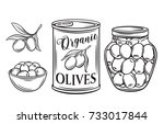 canned olives in tin can and... | Shutterstock .eps vector #733017844