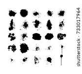 ink  blobs and drops set... | Shutterstock .eps vector #733017964