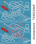 surfer maze for kids with a... | Shutterstock .eps vector #733023469