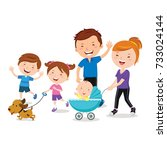 happy family walking with a pet ... | Shutterstock .eps vector #733024144