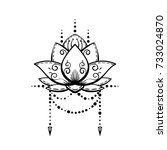 lotus flower tattoo hand drawn... | Shutterstock .eps vector #733024870