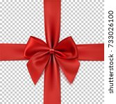 realistic red bow and ribbon... | Shutterstock .eps vector #733026100
