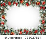 decorative christmas frame with ...   Shutterstock .eps vector #733027894