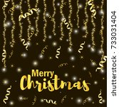 gold text merry christmas and... | Shutterstock .eps vector #733031404
