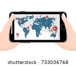 flat black modern mobile phone... | Shutterstock . vector #733036768
