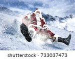 santa claus and winter sport  | Shutterstock . vector #733037473