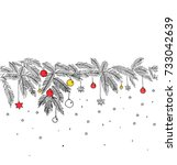 seamless christmas decoration.... | Shutterstock .eps vector #733042639