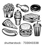 set fast food with drinks .... | Shutterstock .eps vector #733043338