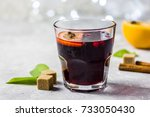 Small photo of Warm Christmas drink, mulled wine. Selective focus, space for text.