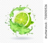 fresh lime in juice splash... | Shutterstock .eps vector #733050526