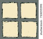 grunge frames set. vector... | Shutterstock .eps vector #733055590