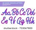 3d rounded headline font. neon... | Shutterstock .eps vector #733067800