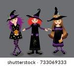 halloween vector illustration... | Shutterstock .eps vector #733069333