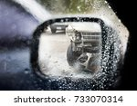 water drop on car glass and... | Shutterstock . vector #733070314