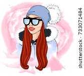 fashion outfit illustration.... | Shutterstock .eps vector #733071484