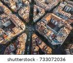 barcelona city grid aerial | Shutterstock . vector #733072036