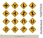 yellow traffic sign vector set | Shutterstock .eps vector #733075510