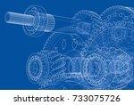 gearbox sketch. vector... | Shutterstock .eps vector #733075726