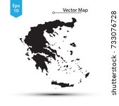 simple black map of greece... | Shutterstock .eps vector #733076728