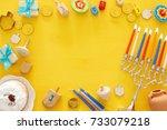 top view image of jewish... | Shutterstock . vector #733079218