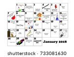 january 2018 monthly calendar... | Shutterstock . vector #733081630