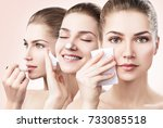 young woman cleanses skin with... | Shutterstock . vector #733085518