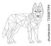 siberian husky polygonal...   Shutterstock .eps vector #733087594