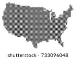 dotted map of usa | Shutterstock .eps vector #733096048