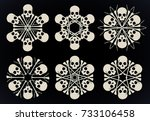 set of vector snowflakes made...