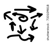 hand drawn arrow set ... | Shutterstock .eps vector #733109818
