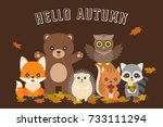 happy autumn typography and... | Shutterstock .eps vector #733111294