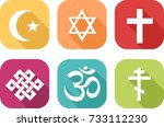 colorful icons of symbols... | Shutterstock .eps vector #733112230