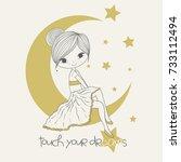 cute girl sitting romantic on... | Shutterstock .eps vector #733112494