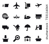 16 vector icon set   delivery ... | Shutterstock .eps vector #733116064