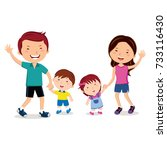 happy family walking together... | Shutterstock .eps vector #733116430