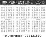 180 outline mini concept... | Shutterstock .eps vector #733121590