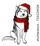 husky's dog  in a knitted red... | Shutterstock .eps vector #733124434