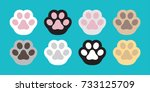 cat paw dog paw vector icon... | Shutterstock .eps vector #733125709