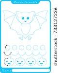 bat. preschool worksheet for... | Shutterstock .eps vector #733127236