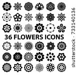 flowers flat icon set vector | Shutterstock .eps vector #733140136