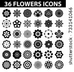 flowers flat icon set vector | Shutterstock .eps vector #733141066