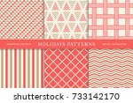 set of winter holiday seamless... | Shutterstock .eps vector #733142170