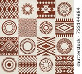 pieces of american indians...   Shutterstock .eps vector #733144684
