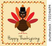 happy thanksgiving with turkey... | Shutterstock .eps vector #733146694