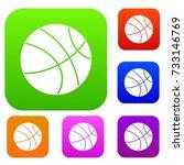 basketball ball set icon color... | Shutterstock .eps vector #733146769